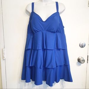 Other - Plus Size Blue Ruffle Tiered Skirted Swim Dress